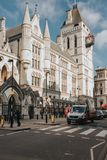Royal Courts Justice facade, in Strand street. London, England. royalty free stock photography