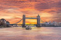 London England Tower Bridge Sunrise from the Thames River Royalty Free Stock Image