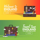 London, England travel destinations icon set, Info graphic elements for traveling to England. Stock Photos