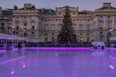 London, England, UK - December 29, 2016: Ice-skating rink ready stock photos