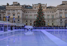 London, England, UK - December 29, 2016:  Ice-skating rink ready. For the next session at Somerset House.  Taken at early evening on a bright winter`s day Royalty Free Stock Photos
