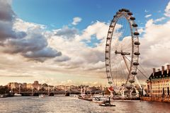 London England UK. Det London ögat Arkivbilder
