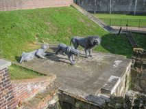 View of a sculpture of 1 lion and two lionesses royalty free stock photography