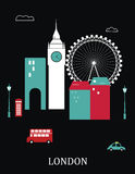London England. Vector illustration on black background Stock Image