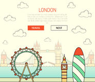 London, England view street with sights in flat and doodle. London, England view of street with sights in flat style with doodle element. Background with button Stock Image