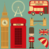 London. English Icons Set with British theme. Vector Illustration Stock Photography