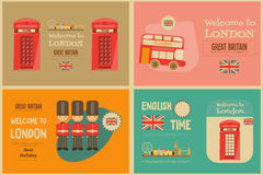 London. English Mini Posters Collection with British theme. Vector Illustration stock illustration
