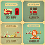 London. English Poster Set with British theme. Vector Illustration Stock Photography
