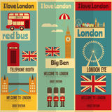 London. English Posters Collection with British theme in Flat Design. Vector Illustration stock illustration