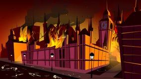 London epidemiepidemi i brandvektorillustration royaltyfri illustrationer