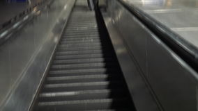 London. Escalator to underground metro. London. England. United Kingdom. 8 October 2016. Rise on an escalator in the underground subway stock video