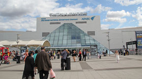 The London ExCel. This photo shows the London Excel. This is a new venue in London which is used for various exhibitions, very recently though its doors have stock photo