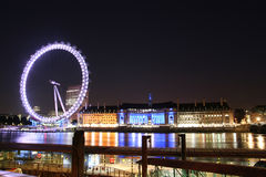 The London Eye. Picture of London famous landmark ( London Eye ) at night, picture taken 2008 Year Royalty Free Stock Images