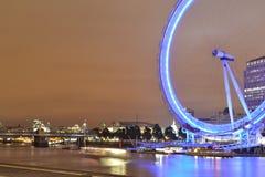 London Eye. Wheel river tourism thames travel city sky night skyline bridge big blue Royalty Free Stock Photo