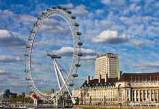 London Eye. The London Eye on the Thames River in the capital city of London. The London Eye is the most popular attraction of the UK and the tallest Ferris Royalty Free Stock Photo