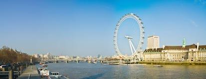 London Eye. The London Eye and Thames river, London, England royalty free stock photos