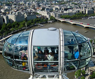 London eye. Cityscape view of buildings and Thames River from London Eye in London Stock Image