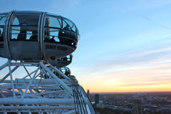 London Eye 3. View of the London Eye capsule at sunset Stock Photos