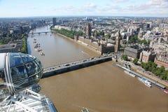 London Eye above city Stock Image
