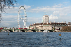 London Eye from across the river Stock Photos