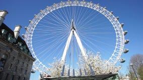 London Eye against blue sky stock video
