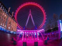 London Eye against the sky full of stars royalty free stock photography