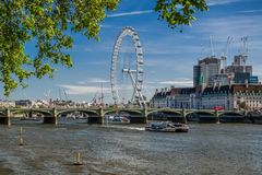 London Eye andriver Thames, UK Stock Image