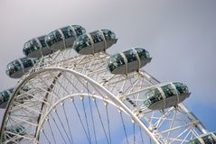 London Eye Apex. The uppermost curve of the London Eye against a partly cloudy sky Royalty Free Stock Photography