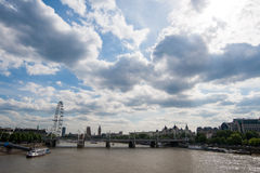 London eye and architectures along the thames rive Stock Photo