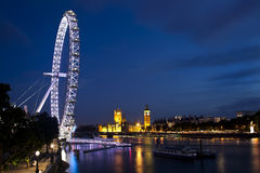 London eye and big ben. Night shot of the London eye and big ben Stock Images