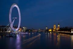 London eye and big ben. A slow Night shot of the London eye and big ben Royalty Free Stock Photos