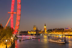 London Eye, Big Ben and Houses of parliament in London, UK. Royalty Free Stock Photo
