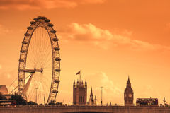 London Eye and Big Ben royalty free stock photography