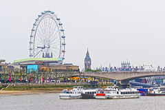 London Eye and Big Ben near Waterloo Bridge in London Royalty Free Stock Photos