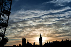 London Eye and Big Ben during sunset Royalty Free Stock Photography