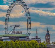 London Eye and Big Ben Tower Photo Stock Photography