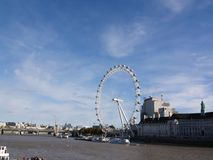 London eye with blue sky and nice weather stock images