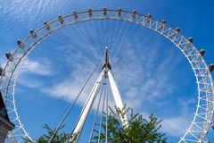 London Eye and blue sky, United Kingdom, 21 May, 2018 stock images