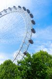 London Eye and blue sky, United Kingdom, 21 May, 2018. London Eye and blue sky, United Kingdom, 21 May 2018 royalty free stock image