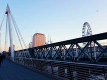 London eye bridge central bank modern. Architecture objects modern city centre art symbol boulding Royalty Free Stock Images