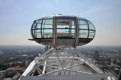 London Eye cabin. London. A cabin of the London Eye over the city. London Stock Images