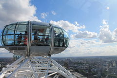 London eye cabin. A view on a London Eye cabin and the city Stock Photos
