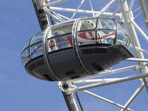 London Eye capsule. The London Eye is the most popular attraction of the UK and the tallest Ferris Wheel in Europe at 135 meters 443 feet Stock Image