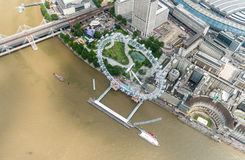The London Eye and city skyline as seen from helicopter Royalty Free Stock Images