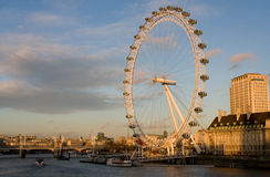 The London Eye on a clear winter day Stock Images