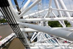 London Eye construction, mechanism as seen from the capsule. London, UK. Stock Photo