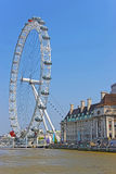 London Eye and County Hall near River Thames in London Stock Images