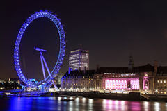 London Eye and  County Hall at night Royalty Free Stock Images