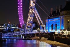 London Eye And County Hall, The Queen's Walk, London, Night View Stock Photo