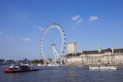 The London Eye, County Hall and the River Thames Royalty Free Stock Image